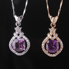 Wonderful 18K Gold/White Gold Filled Amethyst Chain Pendant Necklace Jewelry
