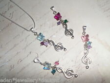 Musical Note & Swarovski Butterfly Crystal Pendant/Necklace*Christmas Gift*