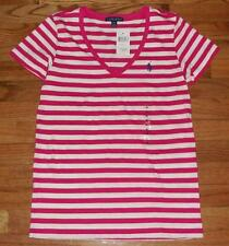 NEW NWT Polo Ralph Lauren Womens PONY LOGO V-Neck Pink/White Striped T-Shirt *E8