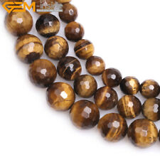 Natural Gemstone Faceted Brown Tiger Eye Stone Jewelry Making Loose Beads 15""