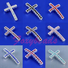1X Crystal Cross Connector Curved Side Ways Loose Beads for Bracelet Necklace