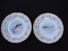 2 Gorgeous Signed LIMOGES Delinieres Fish Plate D&C France
