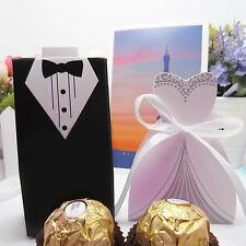 New Wedding Favor Candy Box Bride & Groom Dress Tuxedo Party - 10/50/100pcs