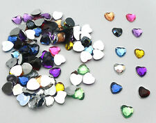 100 x 8mm Flat Back Rhinestone Heart Gems | Bobityboo