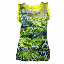 T-Shirt Vest, green/yellow patterned, sleeveless, from ERFO