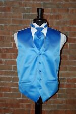MENS LARGE CORN FLOWER BLUE  TUXEDO VEST /  TIE by CARDI SOLID SATIN