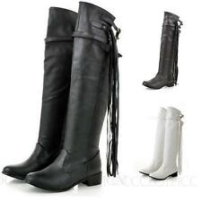 Womens Knee High Booties Winter Leather Shoes Cowboy Tassel Long Boots Size
