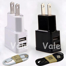 2A Dual US Plug USB Wall AC Adapter + Micro USB Charger Cable For Samsung Galaxy