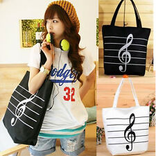 Women Girls Canvas Single Shoulder Musical Note Tote Portable Chic Shopping Bag