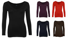 NEW WOMENS LADIES V NECK PLUS SIZE BASIC PLAIN LONG SLEEVE STRETCH T-SHIRT TOP