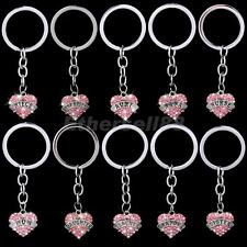 Pink Crystal Family Name Love Heart Key Ring KeyChain Pendant Charms Xmas Gifts