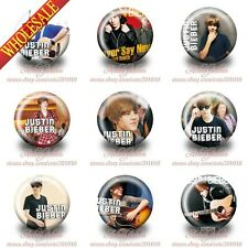 Hot 9PCS/SET Justin Bieber Buttons pins badges 30mm Diameter Brooch Badges Gifts