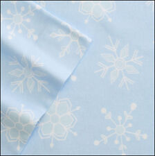Cuddl Duds SNOWFLAKES Heavy Weight 5 oz Cotton FLANNEL Sheet - Blue White Snow