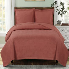 Coral Emerson Oversize Coverlet Bedspread Luxury Microfiber Embossed Quilted Set