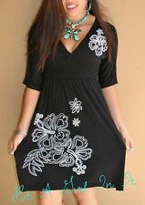 PLUS SIZE LITTLE BLACK FLOWER FLORAL BABYDOLL BOHO CINCH MINI DRESS 1X 2X 3X