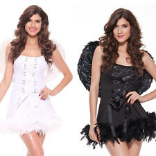 Halloween Female Angel Costume Black Fallen Angel/Lovely White Angel Fancy Dress