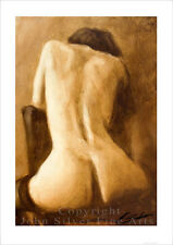 EROTIC ART FEMALE NUDE PORTRAIT. SIGNED A4 or A3 PRINT by JOHN SILVER. FI021SP
