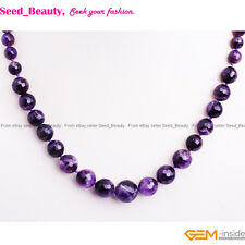 6-14mm Faceted Natural Stone Beads Graduated Beaded Jewelry Necklace 18-22""