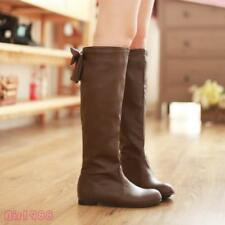 2016 Bow Flat Comfort Womens Knee High Tall Boots Fall Winter Tall Boots Shoe