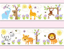 Safari Jungle Animal Wallpaper Border Wall Art Decals Baby Girl Nursery Stickers