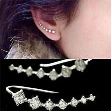 1 Pair Gold/Silver Rhinestone Crystal Ear Hook Stud Earrings Women Lady Jewelry