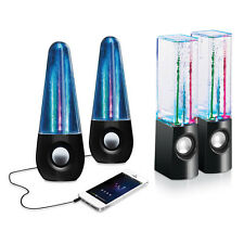 LED Light Fountian Dancing Water Show Music USB Powered iPhone & Laptop Speakers