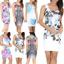 Womens Ladies Celebrity Tropical Floral Hawaii Print Pencil Bodycon Mini Dress