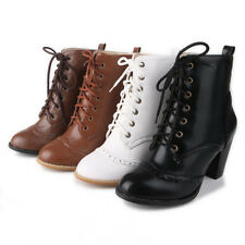 Women Comfort Block High Heels Classic Shoes Lace Up Ankle Boots Sizes 4.5 -10.5