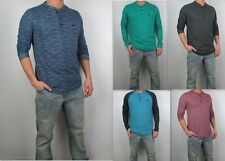 NWT HOLLISTER Men Textured Colorblock Long Sleeve Henley Shirt By Abercrombie