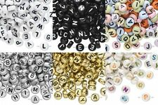 400 Assorted ABC Alphabet Letters Words Names 7mm Round Coin Jewelry Beads