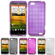 For HTC One V Primo T320e Virgin Mobile Color Plaid Hard Gel TPU Skin Case Cover