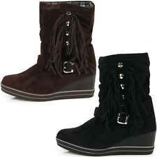 New Wedge Heels Fashion Casual Mid Calf Boots Womens Tassel Winter Warm Shoes