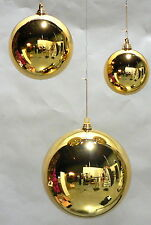 "2 LARGE OVERSIZED CHRISTMAS BALL ORNAMENTS 12"" GOLD PLASTIC 280 mm OUTDOOR"