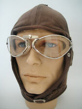 NEW Aviator LEATHER Convertible Car Motorcycle Racing HELMET CAP Aviation VTG #1