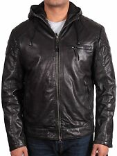 Brandslock Mens 100% Real Sheepskin Leather Hooded Bomber Casuall Fit Jacket