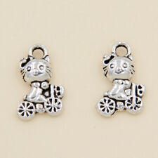 wholesale 50/168Pcs Silver Plated Cats Pendant 12x8mm (Lead-Free)