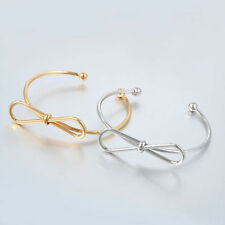 New Fashion Women Simple Alloy Charm No Stone Hollow Bow Knot Bracelet Bangle