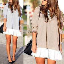 Women Casual Crew Neck Chiffon Hem Long Sleeve Evening Party Mini Dress TXWD