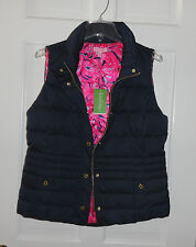 NWT LILLY PULITZER MIDNIGHT NAVY ISABELLE PUFFER VEST DOWN M L XL $198
