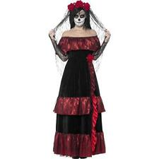 Ladies Day Of The Dead Bride Costume Skeleton Halloween Fancy Dress 01- 43739