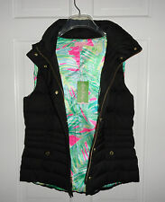 NWT LILLY PULITZER BLACK ISABELLE PUFFER VEST DOWN  L XL $198