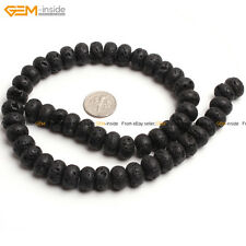 "Rondelle Black Lava Rock Beads Jewelry Making Gemstone Strand 15"" Size Select"