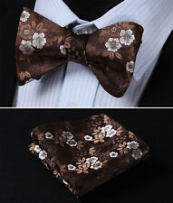 BF3001Z Brown Paisley Bowtie Silk Men Self Bow Tie Pocket Square Set