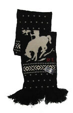 Polo Ralph Lauren Mens Black & Cream Horse & Rider Wool Knit Scarf New