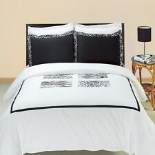 LUXURIOUS Athena Embroidered 100% Egyptian Cotton Duvet Cover Sets - 2 Sizes