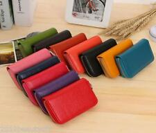Womens Fashion Genuine Leather Zipper Credit Card Case Wallet Holder Purse