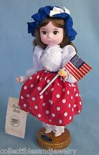 "Bradley Doll Miss July Patriotic Dress US Flag 8.5"" Darlin's of the Month Stand"