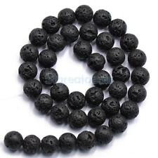 4/6/8/10/12mm Ball Black Lava Rock Natural Gemstone Round Loose Beads Strand 15""