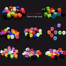 6 PAIRS Silicone Ear Gauges-Ear plugs-Ear Tunnels-Eyelets-Earskin-Multi-Shape