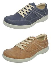 Mens Leather Look Lightweight Casual Comfort Leisure Shoes Trainers Brown Blue